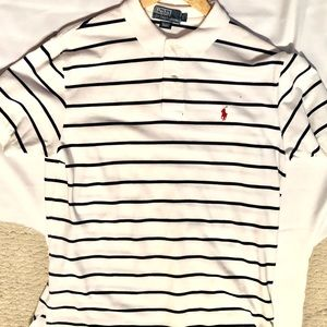 Ralph Lauren Polo shirt Large white with blue